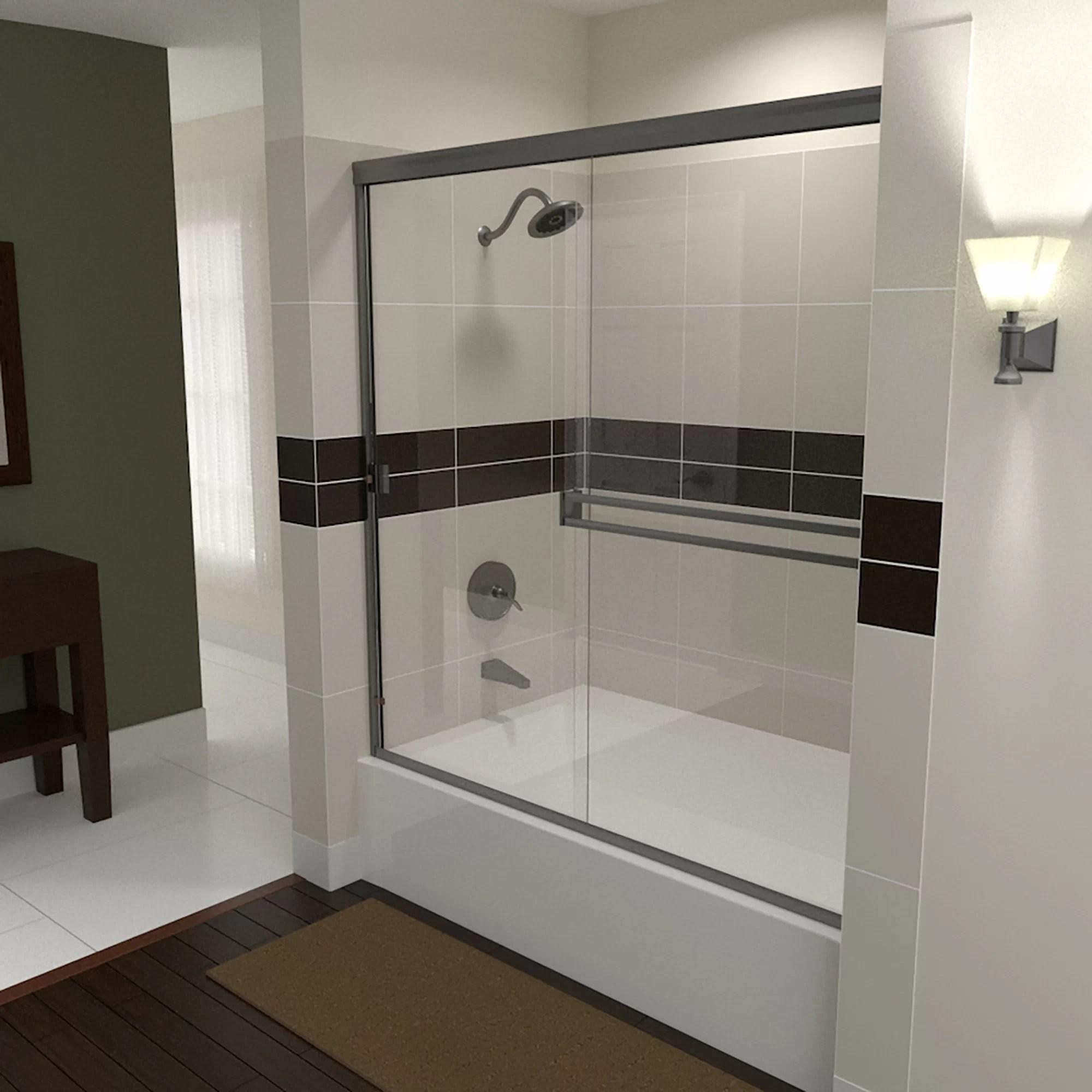 72 X 57 Bypass Semi Frameless Tub Door