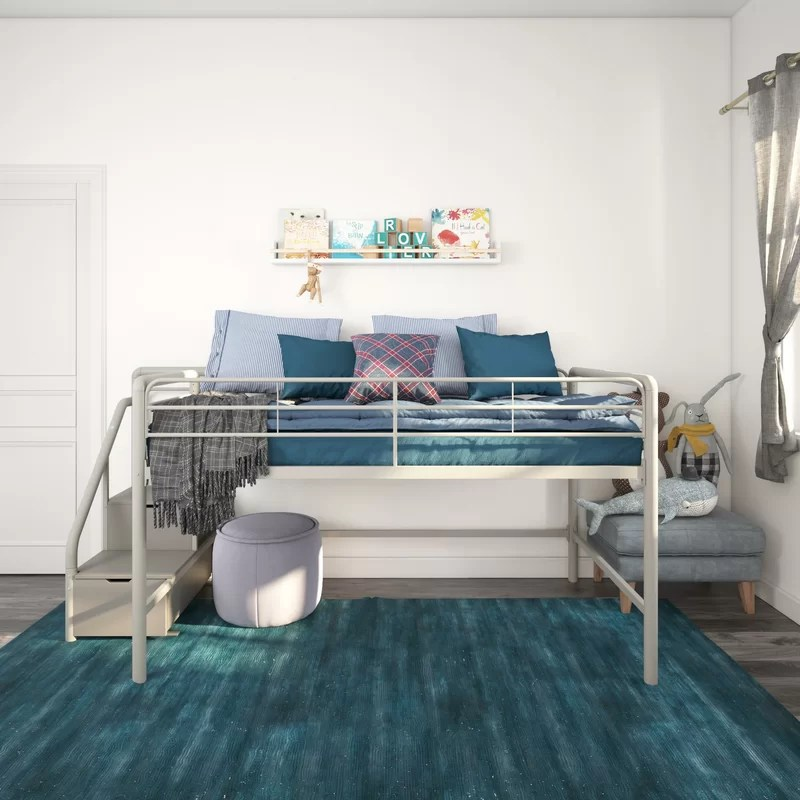 Bewley Junior Twin Low Loft Bed with Drawers