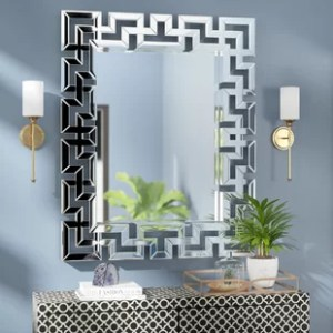 Mirrors with Lights You ll Love   Wayfair Rectangle Ornate Geometric Wall Mirror