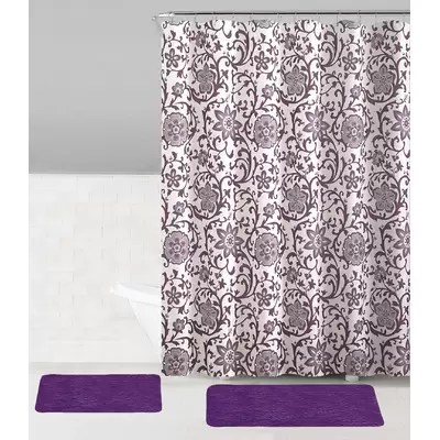 13 pc fabric shower curtain plum purple