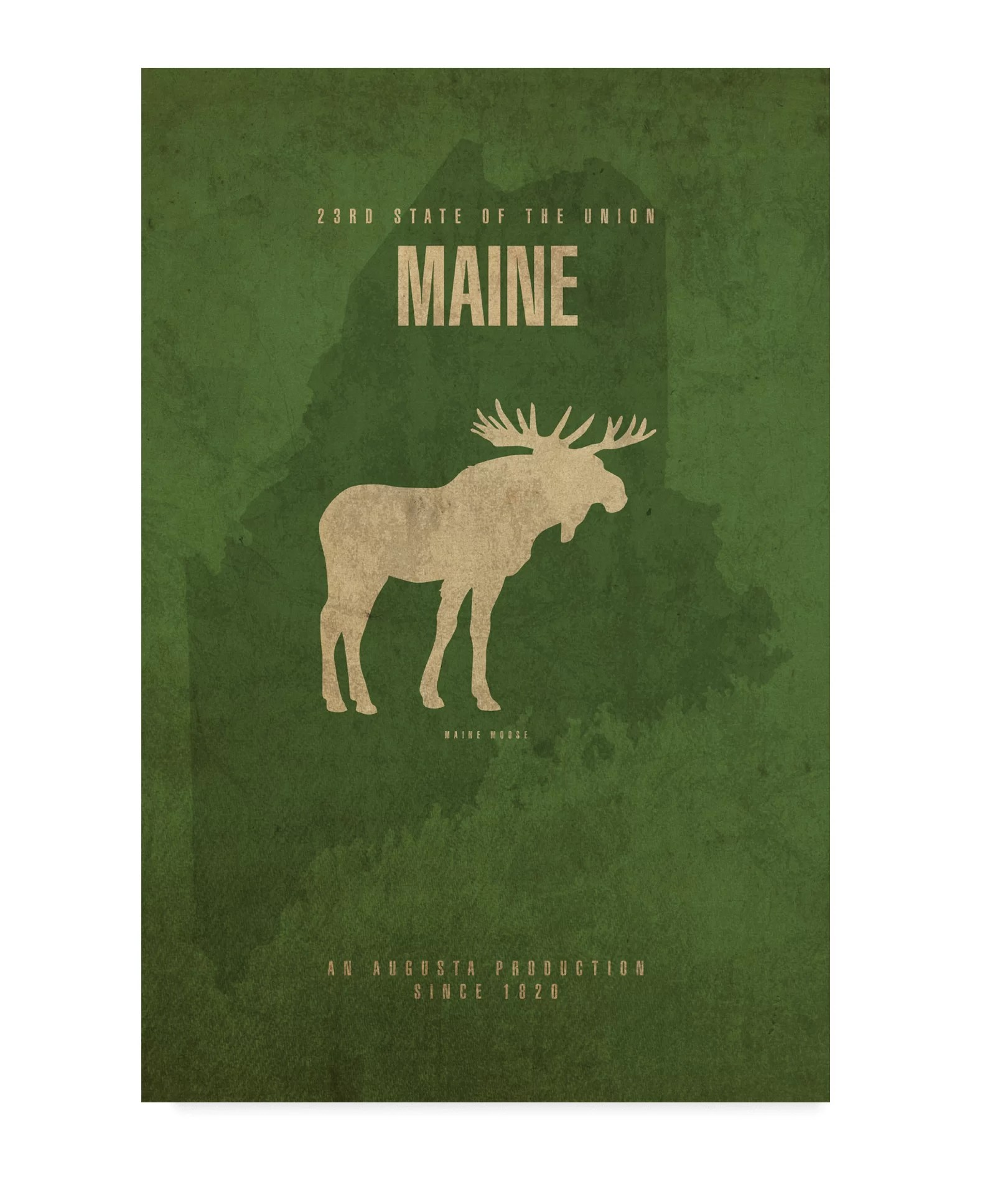 Wrought Studio State Animal Maine Graphic Art Print On Wrapped Canvas Wayfair