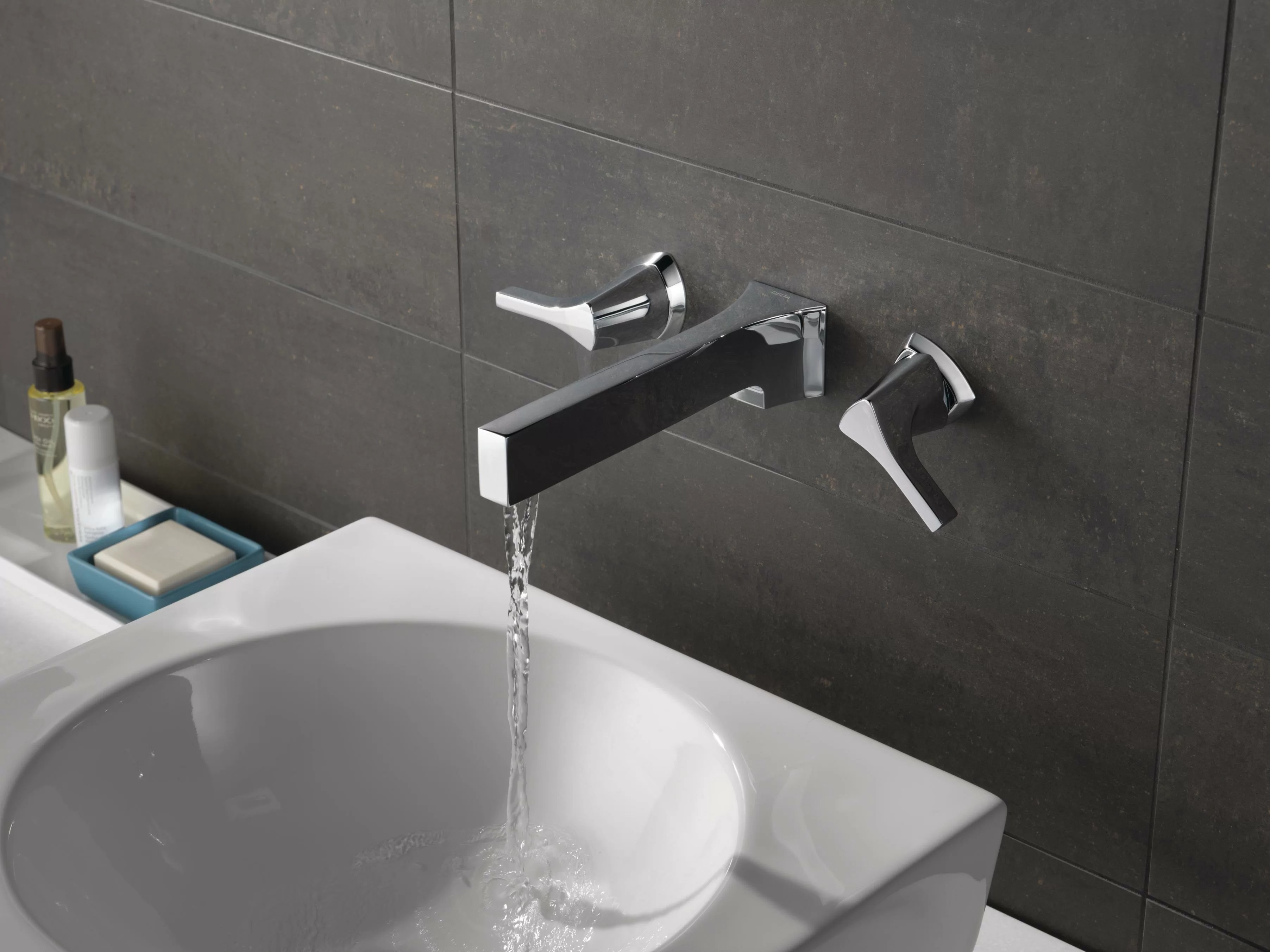 delta zura wall mounted bathroom faucet with drain assembly wayfair