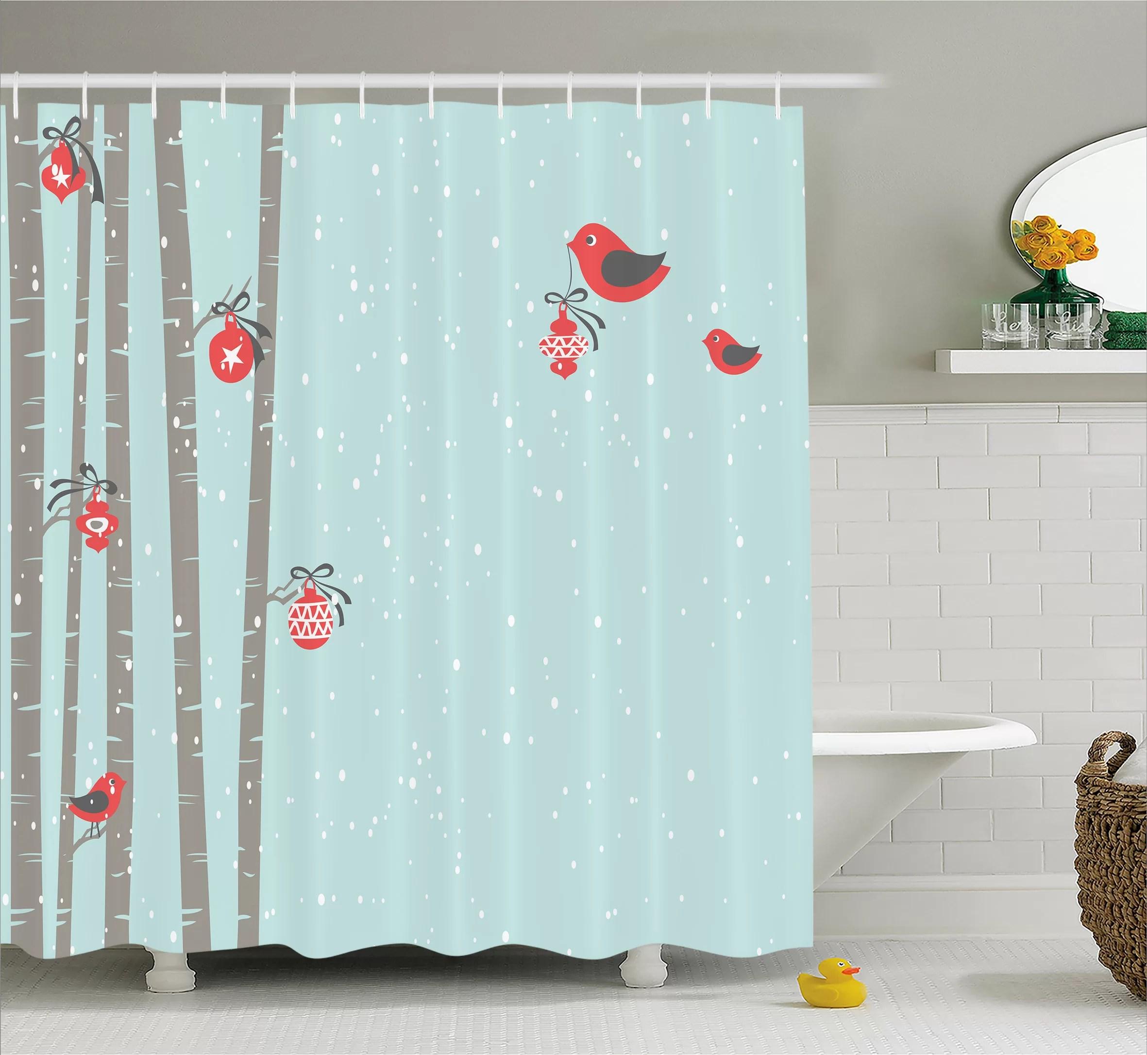 Christmas Cute Red Bird Winter Shower Curtain Hooks