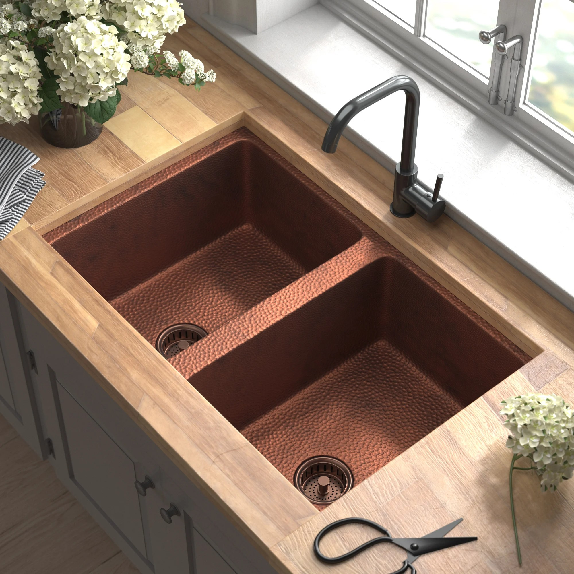 evgeniya copper 33 l x 22 w double basin undermount kitchen sink with drain assembly