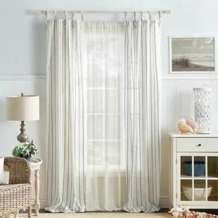laguna striped semi sheer tab top curtain panels set of 2