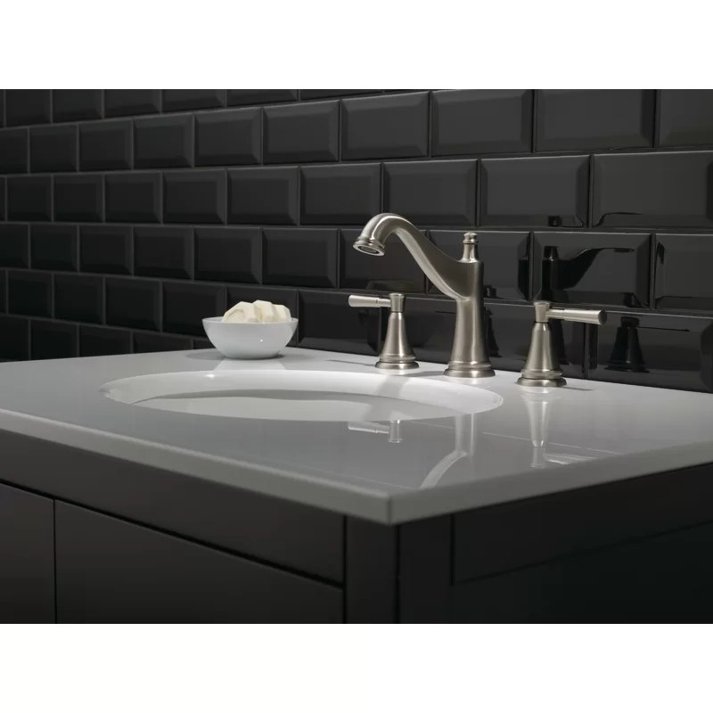 mylan widespread bathroom faucet with drain assembly and spotshield technology