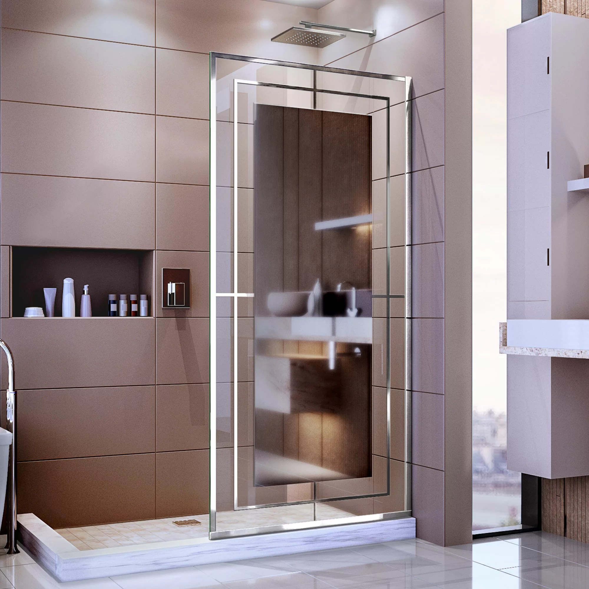 Linea Mira 34 X 72 Single Sliding Frameless Shower Door With Clear Max Technology