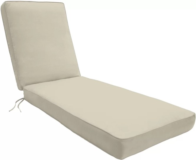 Double Piped Outdoor Chaise Lounge Cushion