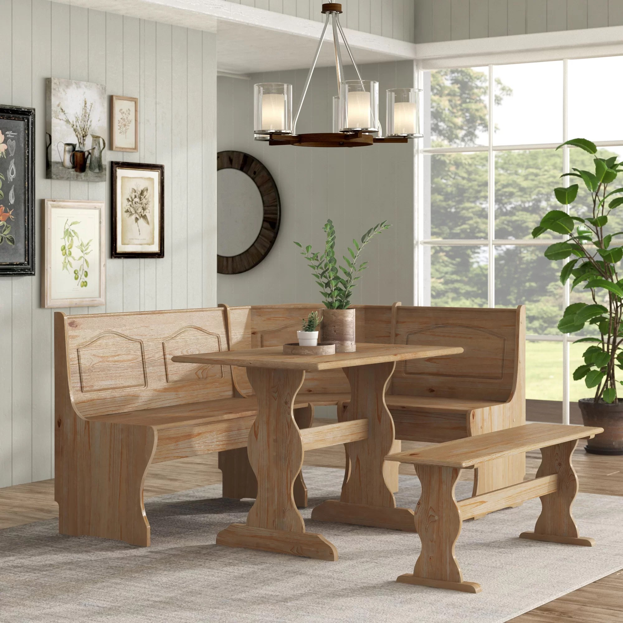 Breakfast Kitchen Nook Solid Wood Seat Dining Corner Bench Chelsea Cushion Set Dining Sets