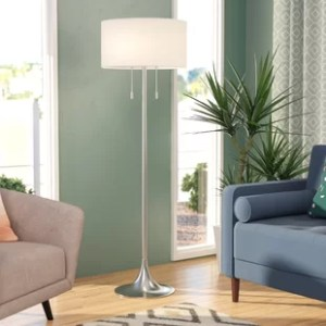 Floor Lamp With Drum Shade   Wayfair Morrisonville 61  Floor Lamp