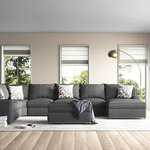 makah 166 wide microfiber microsuede left hand facing modular sectional with ottoman