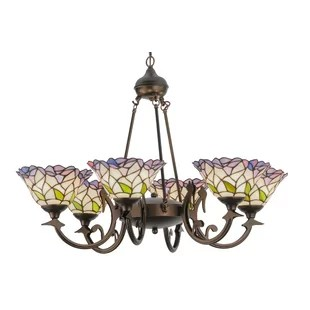 Victorian Daffodil Bell 6 Light Shaded Chandelier