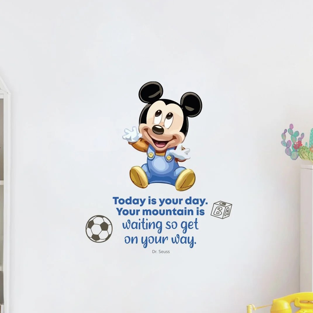 Design With Vinyl Your Day Baby Mickey Mouse Cartoon Quotes Decors Wall Sticker Art Design Decal For Girls Boys Kids Room Home Decor Wall Art Vinyl 10x8 Inch Wayfair Ca
