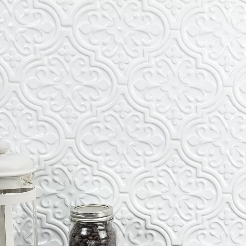 self adhesive white embossed floral tin