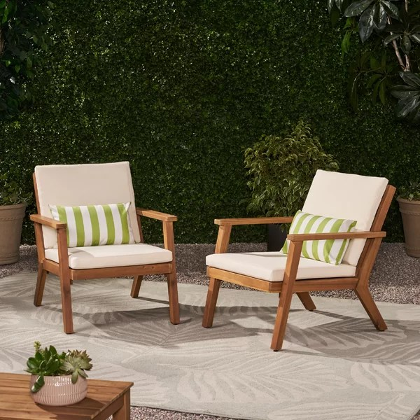 George Oliver Outdoor Patio Chair With Cushions Reviews Wayfair Ca