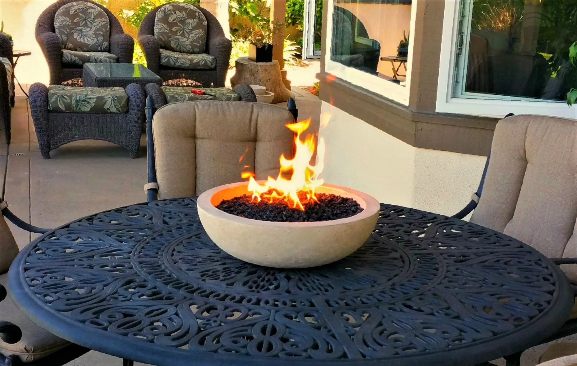 outdoor tabletop gas fire pit patio