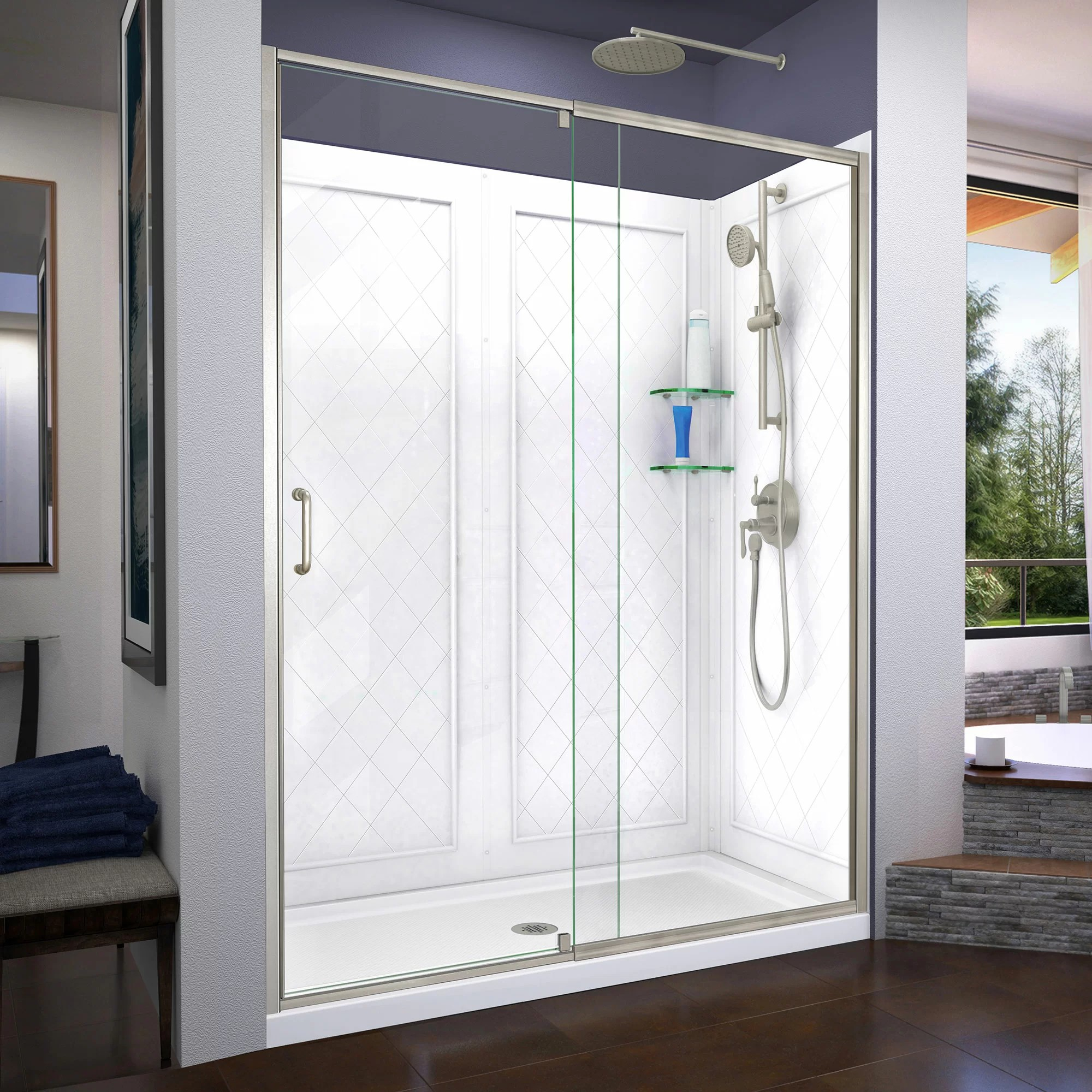 Semi Frameless Shower Door 60 X 76 75 Rectangle Pivot Shower Enclosure With Base Included