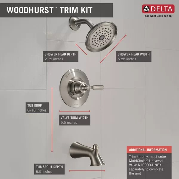 woodhurst diverter tub and shower faucet with trim and monitor