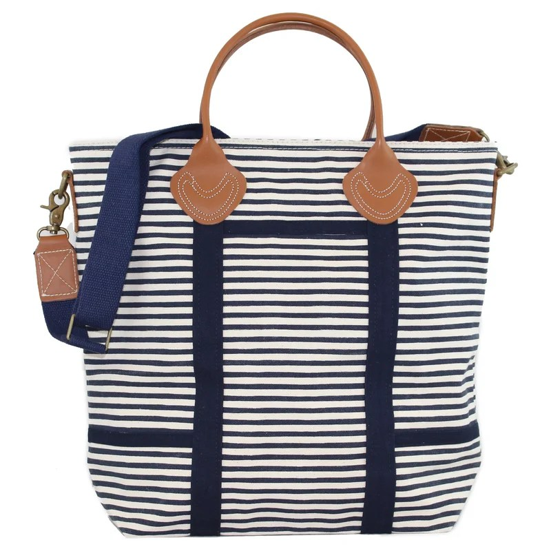 Blue and White Striped Travel Duffle Bag