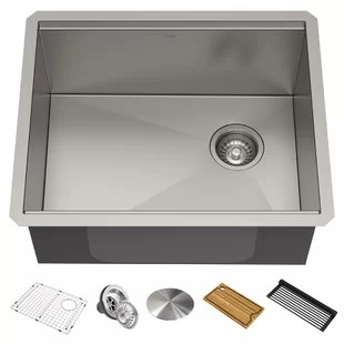 kore 23 l x 19 w undermount kitchen sink with drain assembly strainer