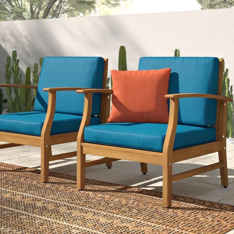 joetta outdoor wood patio chair with cushions