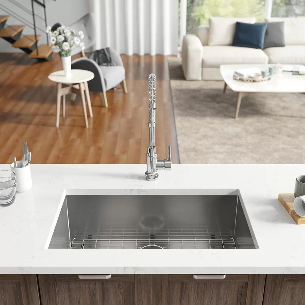 industrial rectangular stainless steel 32 l x 19 w undermount kitchen sink with additional accessories