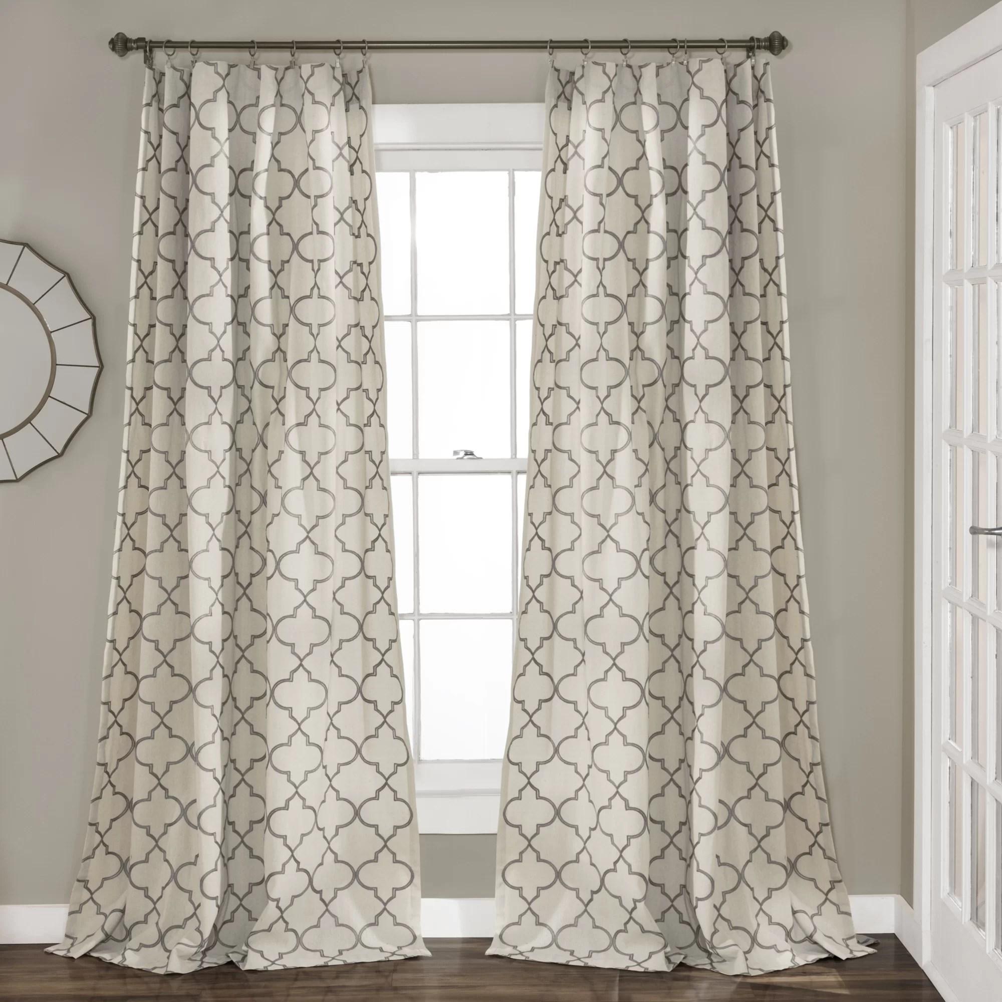 dauberville cotton blend geometric semi sheer rod pocket curtain panels
