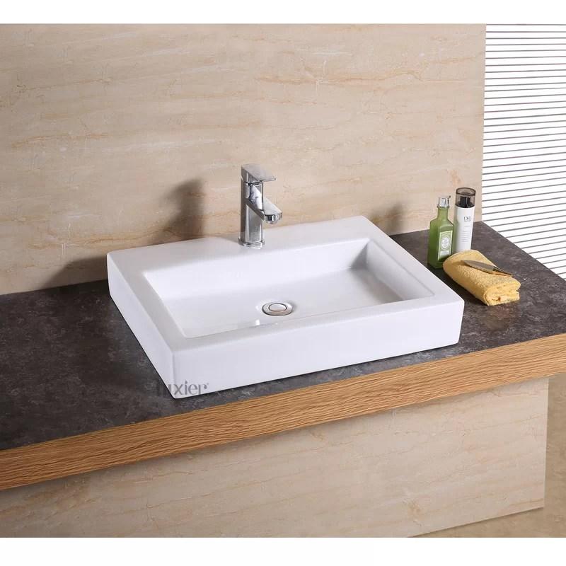 glazed white ceramic rectangular vessel bathroom sink