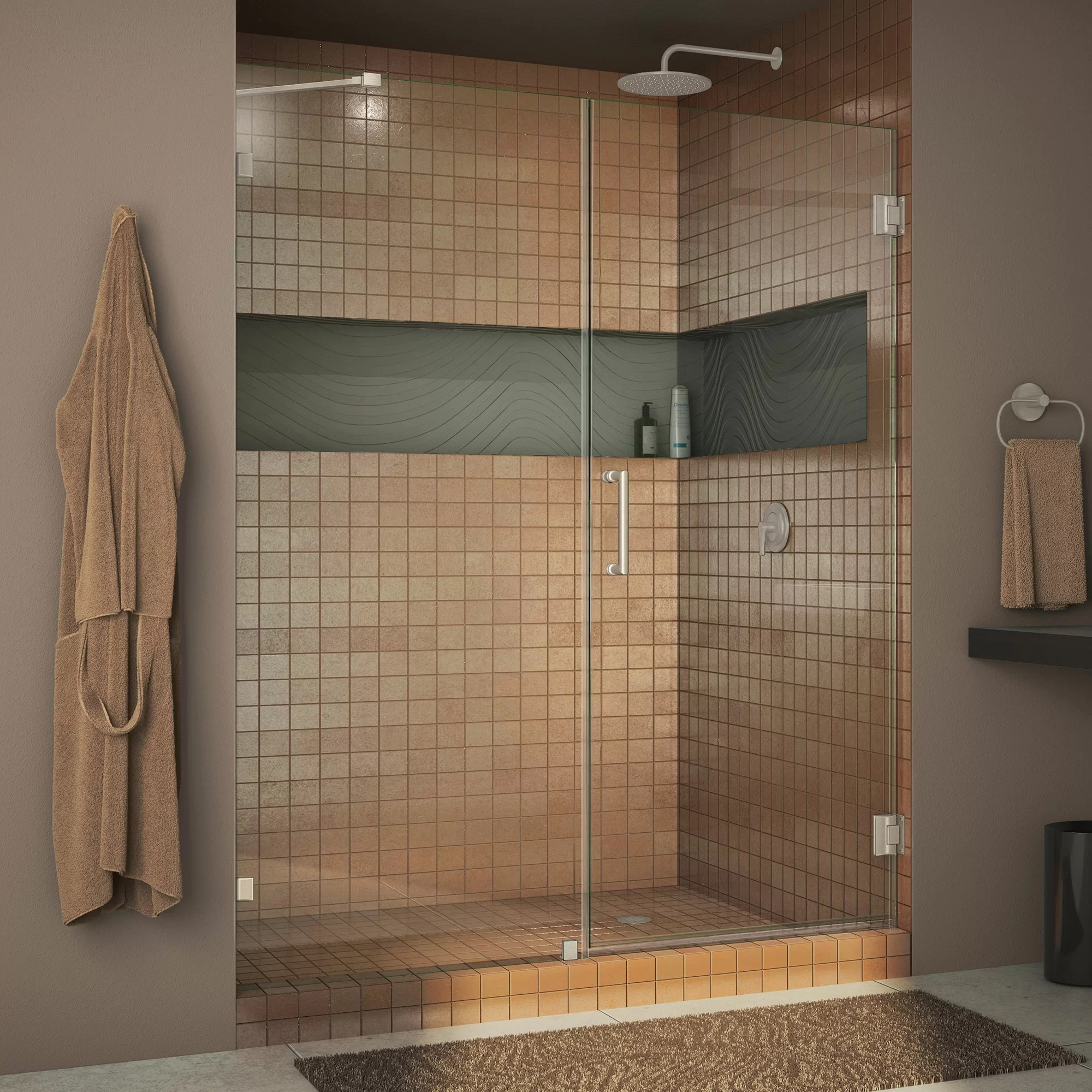 Dreamline Unidoor Lux 51 X 72 Hinged Frameless Shower Door With Clearmax Technology