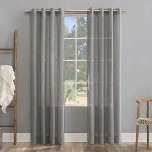 linen solid color sheer grommet single curtain panel