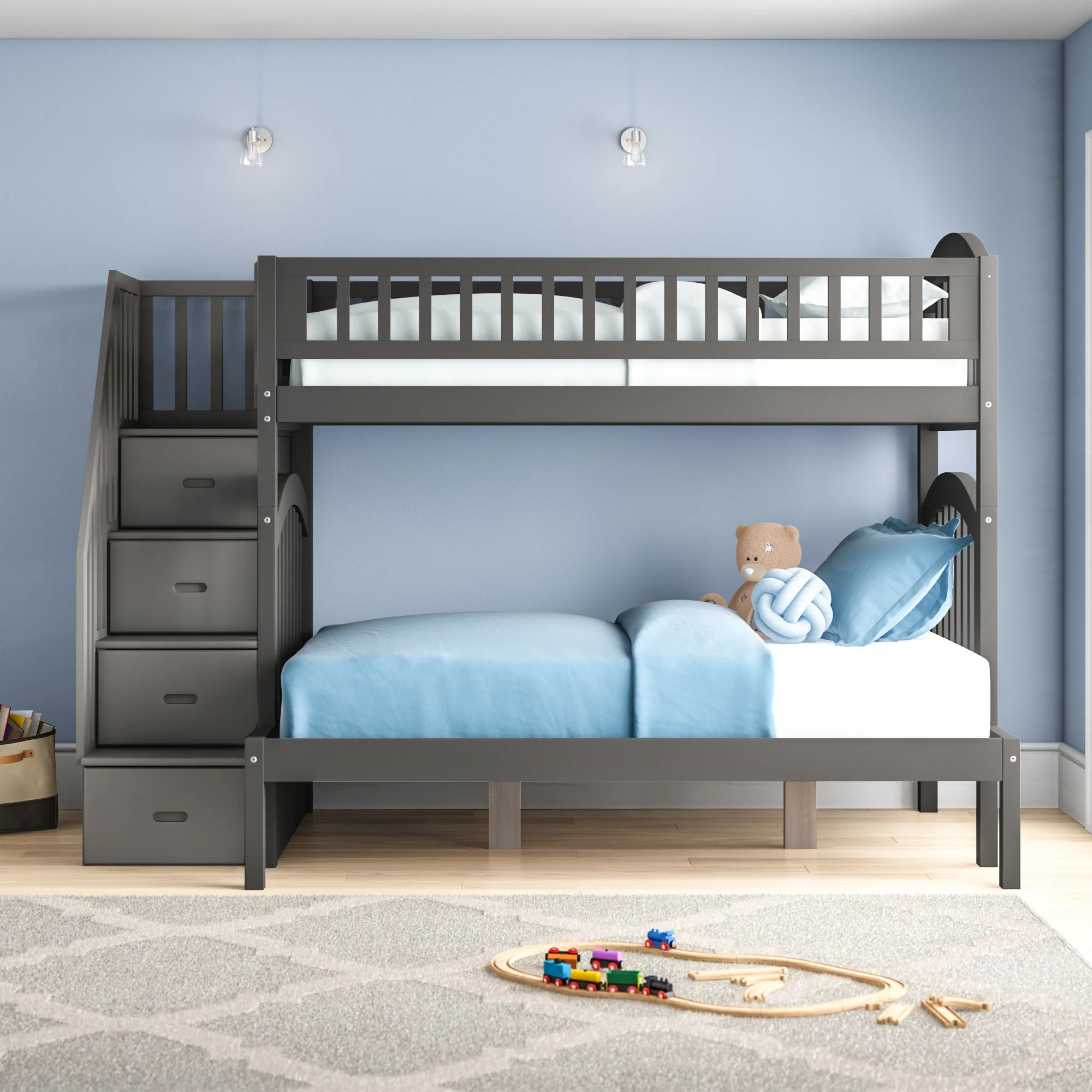 Harriet Bee Salem Staircase Twin Over Full Bunk Bed With Drawers Reviews