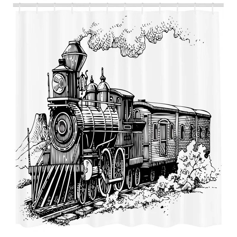 jana steam engine rustic old train single shower curtain