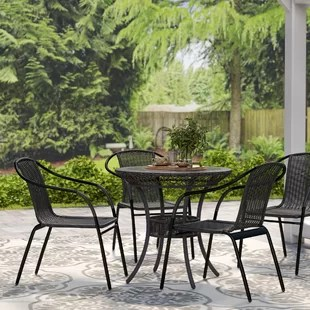 Abrahamic Stacking Patio Dining Chair Set Of