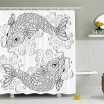 World Menagerie Guedira Asian Traditional Koi Fish Pattern With Ethnic Embellished Ornaments Culture Image Single Shower Curtain Wayfair