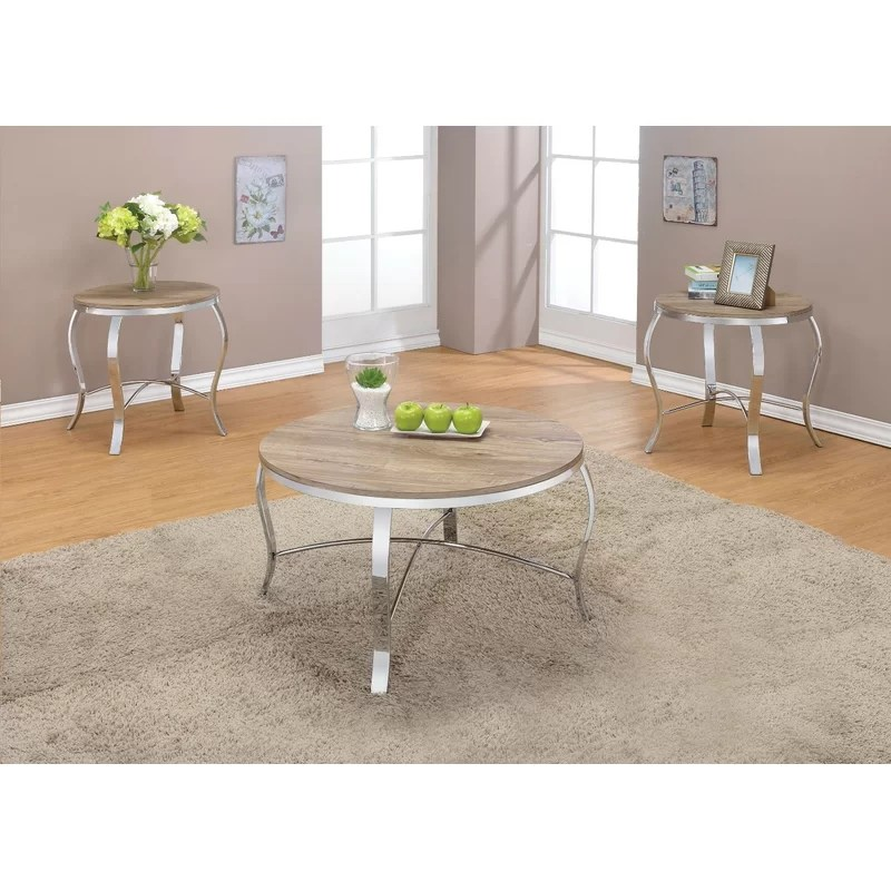 giron metal and wooden 3 piece coffee table set