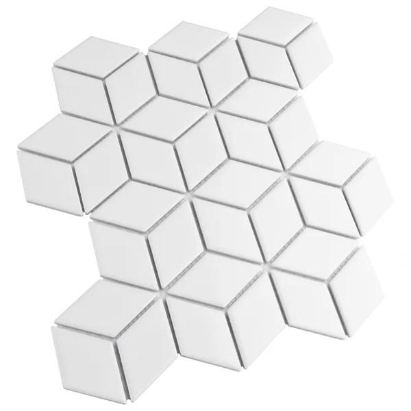 white rhombus tile
