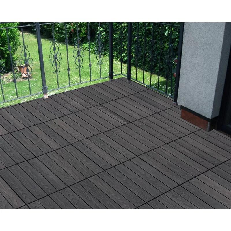 12 x 12 composite interlocking deck tile in concrete gray