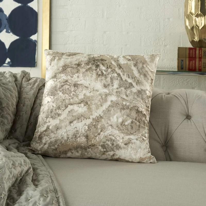 Adainville Metallic Square Throw Pillow