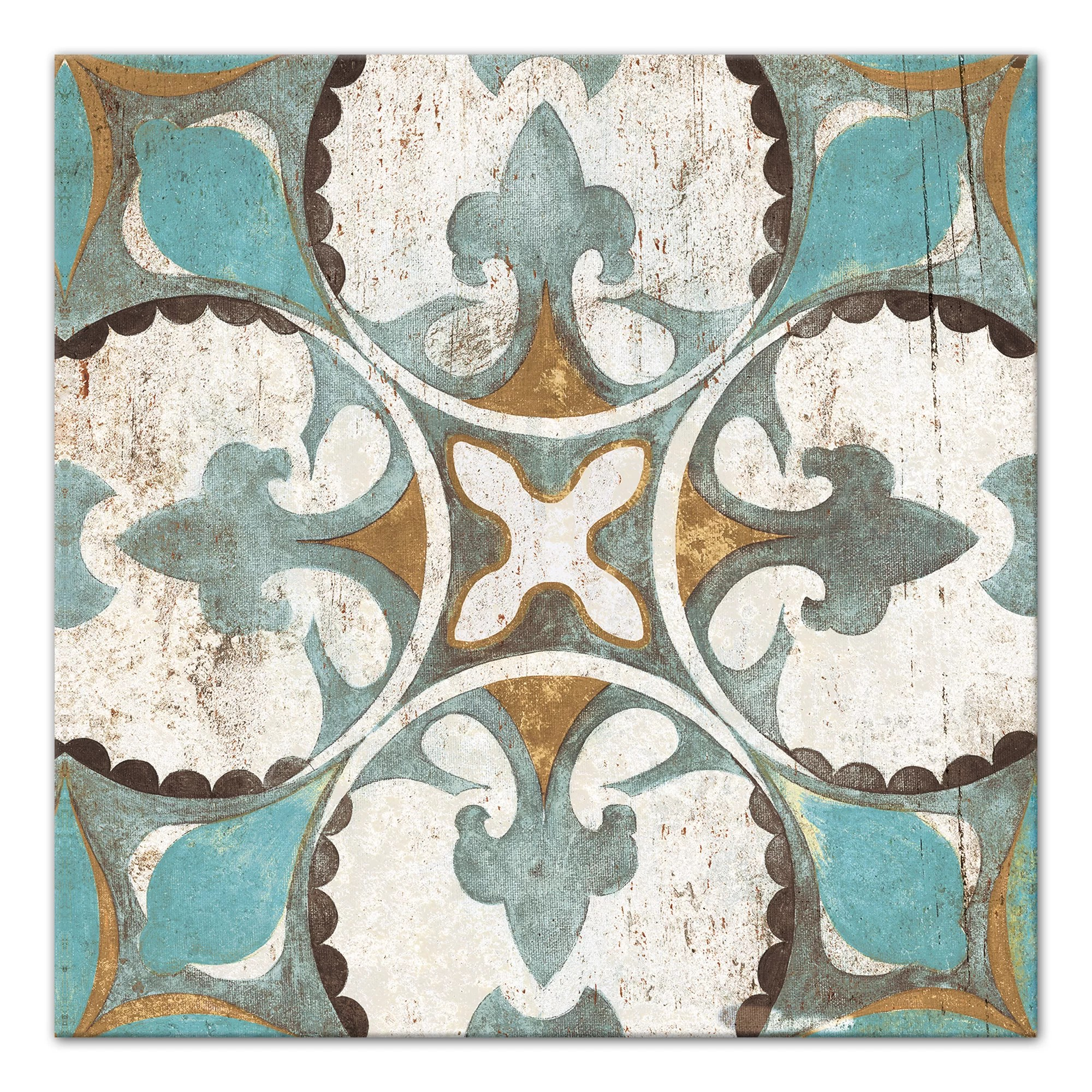 distressed moroccan tile acrylic painting print on canvas