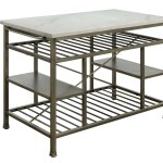 Allmodern Marble Top Metal Kitchen Island With 2 Slated Shelves Bronze And White Wayfair Ca