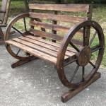 Millwood Pines Corbitt Wagon Wheel Wooden Garden Bench Reviews Wayfair