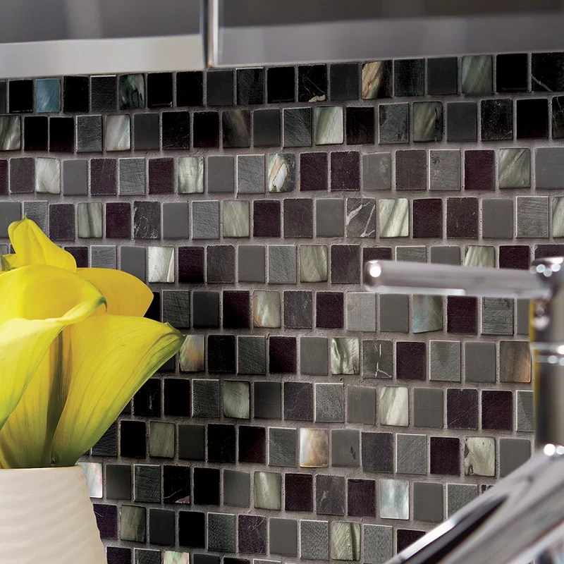 midnight pearl natural stone glass mosaic tile in black