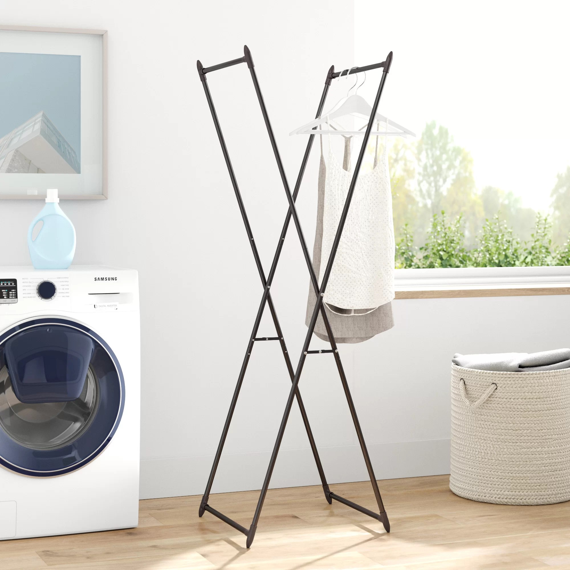 laundry room wall clothes drying racks