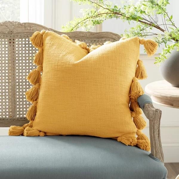 mustard yellow throw pillows