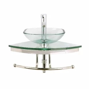 small glass 25 corner bathroom sink with faucet