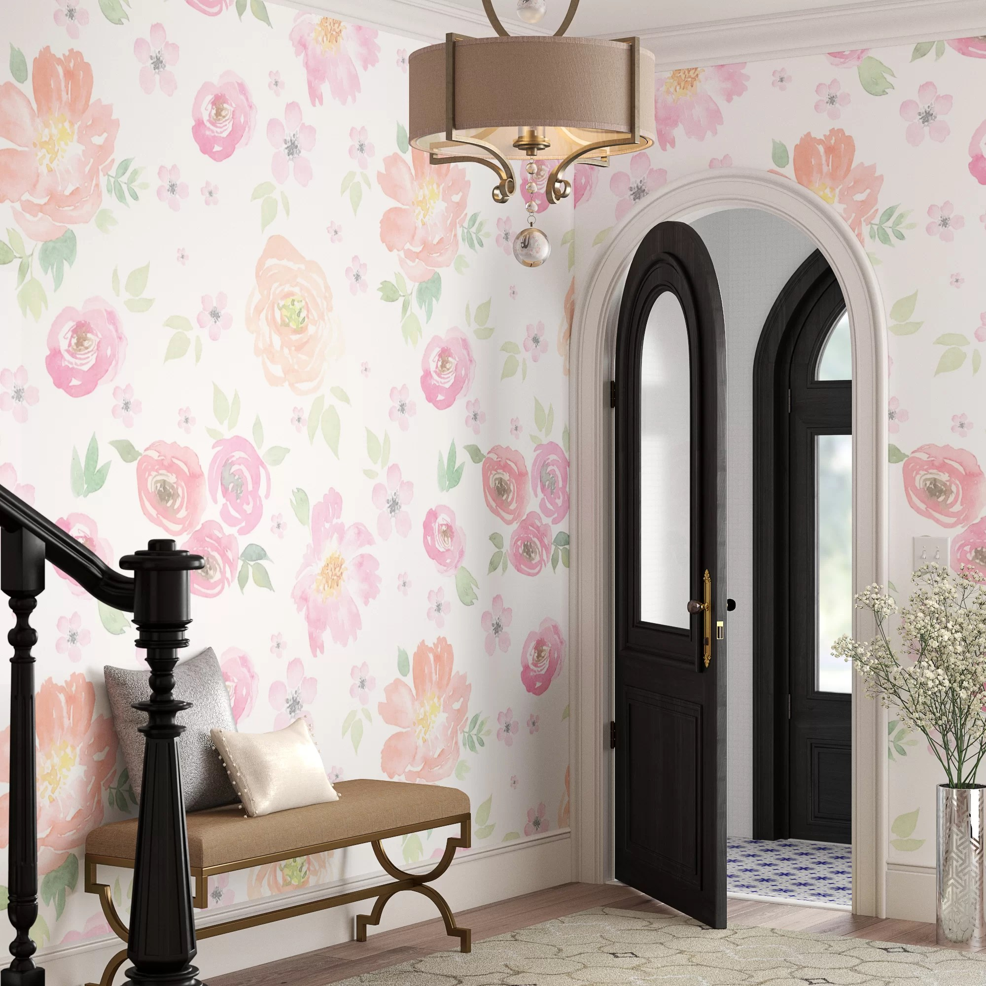 House Of Hampton Cantu Removable Floral Vintage Floral 8 67 L X 150 W Peel And Stick Wallpaper Roll Wayfair