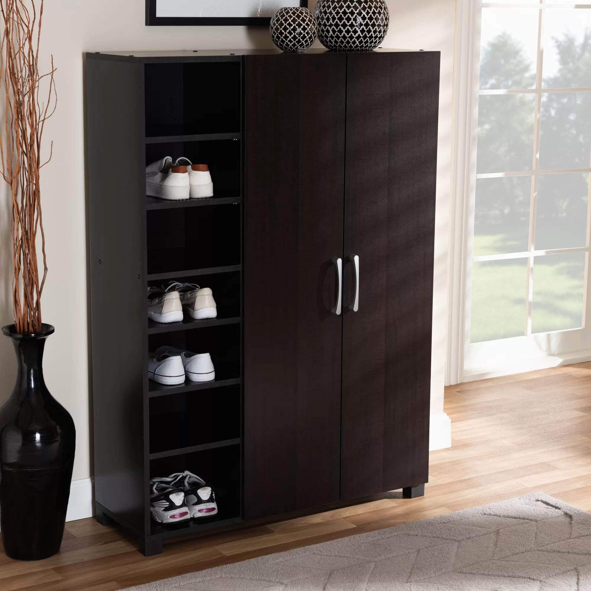 Ebern Designs 2 Door Wood Entryway 19 Pair Shoe Storage Cabinet Reviews