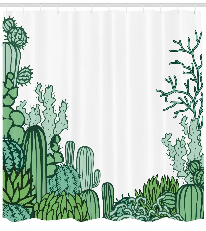 cactus shower curtain set hooks