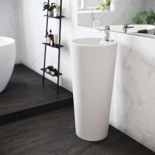 monaco 16 tall glossy white ceramic circular pedestal bathroom sink with overflow