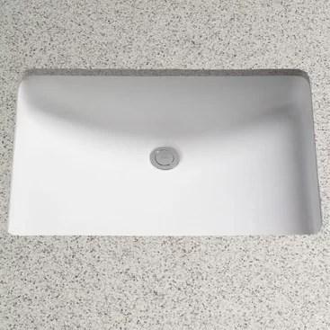 vitreous china rectangular undermount bathroom sink with overflow